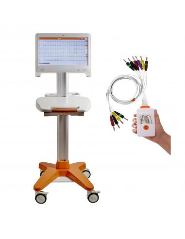 Electrocardiógrafo Cardioline TouchECG HD+ Digital System con PC All-in-One y carro