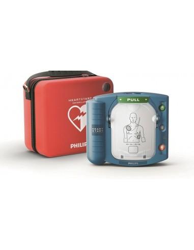 desfibrilador Philips Heartstart HS1 DESA con bolsa + Kit RCP + Vitrina con alarma + cartel