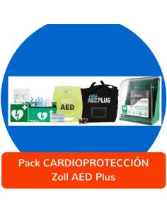 Pack Cardioprotección desfibrilador ZOLL AED Plus con vitrina y accesorios