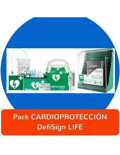 Pack CARDIOPROTECCIÓN DefiSign LIFE con accesorios y vitrina