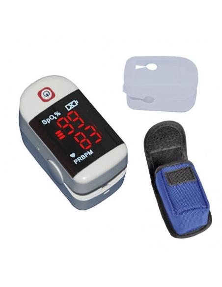 pulsioximetro de dedo con funada de silicona y bolsa pretectora de transporte