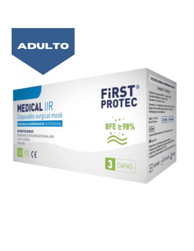 Mascarillas Quirúrgicas tipo IIR FirstProtec adulto caja 50 unidades